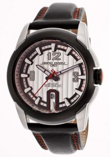 Men's Black Genuine Leather Red Contrast Stitch Silver Tone Dial