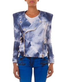 Balmain Tie Dye Knit Moto Jacket, Blue/White