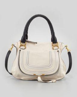 Chloe Marcie Medium Satchel Bag, White/Black