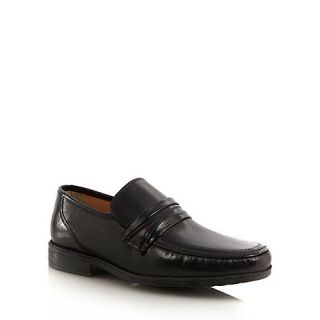 Clarks Wide fit black leather stab stitched loafers