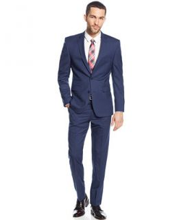 Vince Camuto Modern Blue Mini Check Slim Fit Suit   Suits & Suit