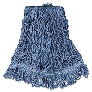Rubbermaid Commercial Super Stitch Blend Mop Heads Cotton/Synthetic Blue Medium 6/Carton Blue
