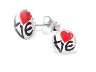 """""""LOVE"""" with a Heart Logo Glass Cabochon Stud Earrings"""