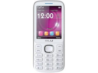 "Blu Jenny TV 2.8 T276T Under 1GB 2G White/Blue Unlocked GSM Dual SIM Cell Phone 2.8"" Under 512MB RAM"