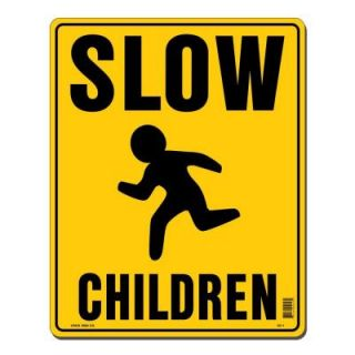 Lynch Sign 12 in. x 15 in. Black on Yellow Plastic Slow Children Sign SC  1