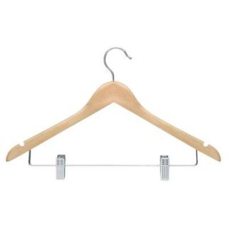 Honey Can Do Maple Finish Basic Suit Hanger with Clips (12 Pack) HNGT01209