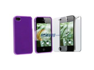 PURPLE SOFT RUBBER TPU CASE+SCREEN FILM compatible with iPhone® 4 4S 4G 4GS G