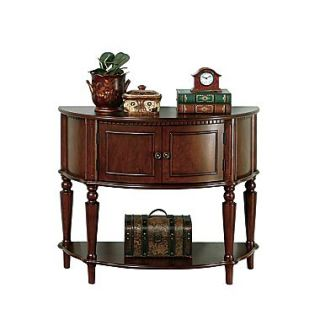 Coaster 31 x 14 1/2 x 38 Entry Table With Curved Front and Inlay Shelf, Brown