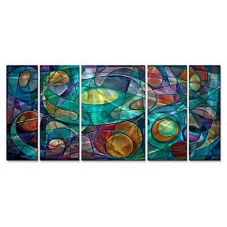 All My Walls Prismatic Prelude II by Ash Carl 5 Piece Graphic Art Plaque Set