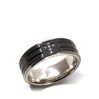 Black Stainless Steel White Diamond Cross 8mm Wedding Band   8057905