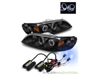98 02 Honda Accord Angel Eye Halo Projector Headlights Black