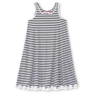 Say What? Girls Striped Daisy Trim Dress   Black/White