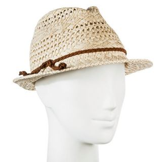 Womens Straw Hat Fedora Natural Tan Pattern Weave with Brown Braid