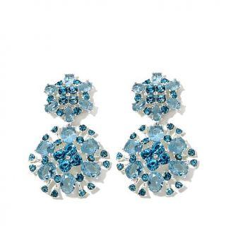 "Roberto by RFM ""Musa Azurra"" Blue Stone Silvertone Floral Drop Earrings   7727070"