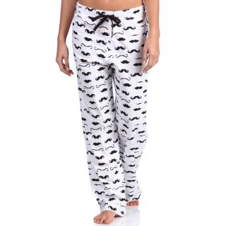 Leisureland Womens Mustache Print Cotton Knit Pajama Pants