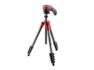 Manfrotto 5 Section Compact Action Aluminum Tripod, Red/Anthracite