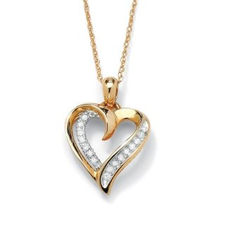 PalmBeach 1/10 TCW Round Diamond Heart Pendant Necklace in 10k Gold