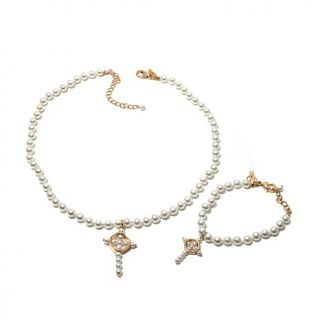 """Homage by Consuelo Vanderbilt Costin """"The Tradition"""" Simulated Pearl Cross 2 pi   1829282"""