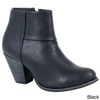 Reneeze Womens Baba 3 Stacked Chunky Heel Ankle Booties