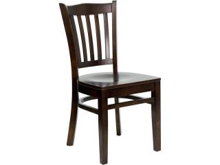 Flash Furniture XU DGW0008VRT WAL GG Vertical Slat Back Wood Chair with Walnut Finish