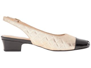 Trotters Dea Gold Quilted/Black Pearlized Patent