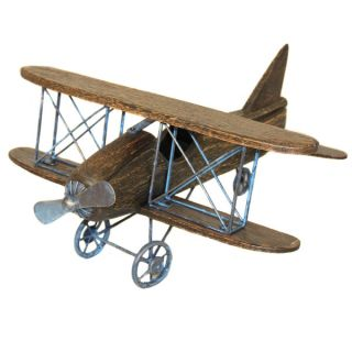 Casa Cortes Handcrafted Wooden Bi Plane Airplane Model Toy   15466495