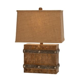 Casa Cortes Rustic Wood and Burlap Handcrafted 26 inch Table Lamps