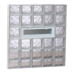 Clearly Secure 38.75 in. x 42.5 in. x 3.125 in. Wave Pattern Vented Glass Block Window 4044VDC