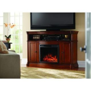 Home Decorators Collection Montero 56 in. Media Console Infrared Electric Fireplace in Aged Cherry 268 67 63 Y