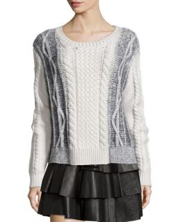10 Crosby Derek Lam Cable Knit Wool Combo Sweater, Cream/Melange Black