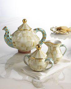 MacKenzie Childs Parchment Check Tea Set