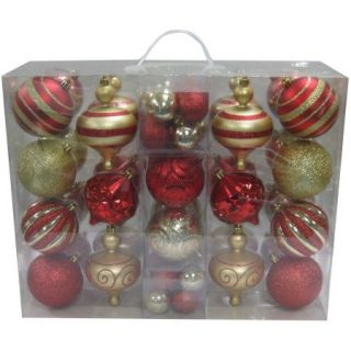 Holiday Time 64 Piece Shatterproof Christmas Ornament Set, Choose a Color