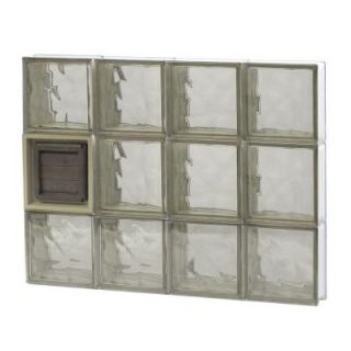 Clearly Secure 31 in. x 23.25 in. x 3.125 in. Wave Pattern Bronze Glass Block Window with Dryer Vent 3224SBZDV