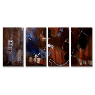 All My Walls 'Gentle Movement' by Ruth Palmer 4 Piece Painting Print Plaque Set