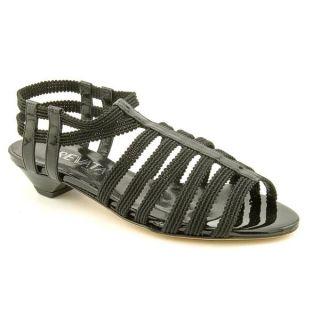 Prevata Womens Gotcha Black Patent Leather Sandals   Narrow