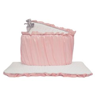The Peanut Shell Baby Girl Crib Bumper   Pink and White   Arianna Bumper