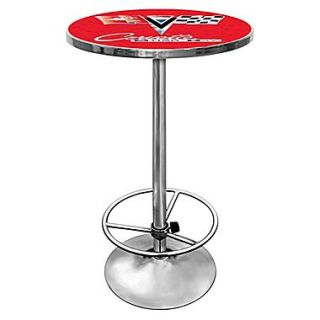 Trademark Global 27.37 Solid Wood/Chrome Pub Table, Red, Corvette C2