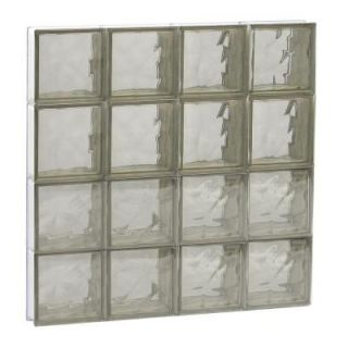 Clearly Secure 31 in. x 31 in. x 3.125 in. Wave Pattern Bronze Non Vented Glass Block Window 3232SBZ