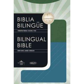 Biblia Bilingue / Bilingual Bible: Version Reina Valera 1960 / New King James Version Blue / Green LeatherSoft