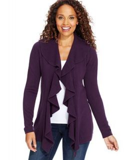 Karen Scott Luxsoft Long Sleeve Ruffled Open Front Cardigan   Sweaters