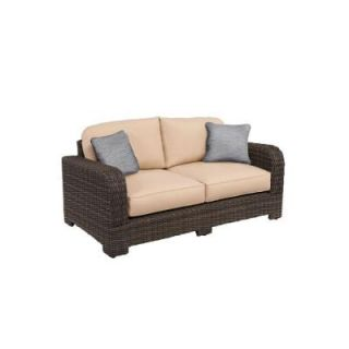 Brown Jordan Northshore Patio Loveseat with Harvest Cushions and Congo Throw Pillows    CUSTOM M6061 LV 6