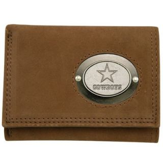 Dallas Cowboys Brown Leather Metal Emblem Tri Fold Wallet