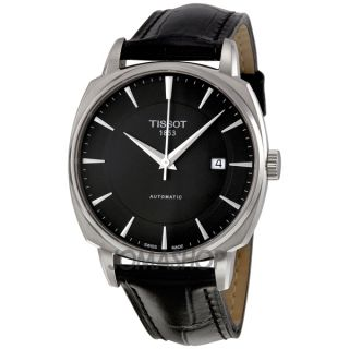 Tissot T Lord Black Dial Automatic Black Leather Mens Watch