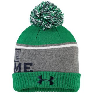Notre Dame Fighting Irish Under Armour Youth Cuffed Knit Hat With Pom   Kelly Green