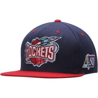 Mitchell & Ness Houston Rockets Navy/Red NBA 50th Anniversary Snapback Adjustable Hat