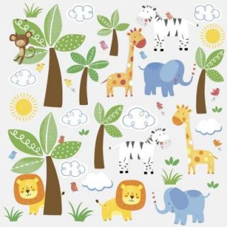 RoomMates 5 in x 11.5 in. Jungle Friends Peel and Stick Wall Decal RMK2635SCS