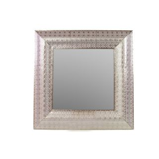 Urban Trends Metal Wall Mirror Pierced Polished Silver