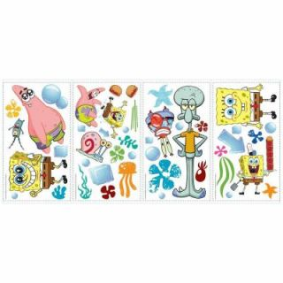 RoomMates 5 in. x 11.5 in. SpongeBob Square Pants Peel and Stick Wall Decals (45 Piece) RMK1380SCS
