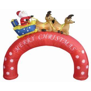 8' Inflatable Santa Sleigh Merry Christmas Arch Lighted Yard Art Decor