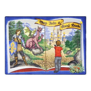 Joy Carpets Step Into A Good Book 5 ft 4 in x 3 ft 10 in Rectangular Multicolor Educational Area Rug